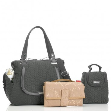 Storksak luiertas Anna Quilted Charcoal