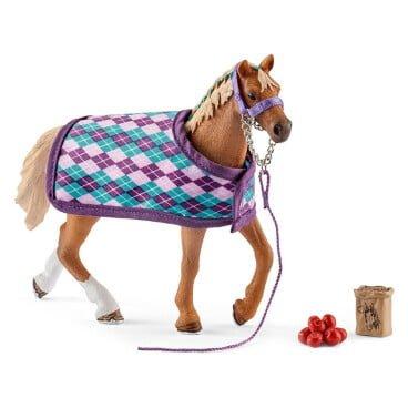 Schleich Horse Club Engelse volbloed met deken 42360